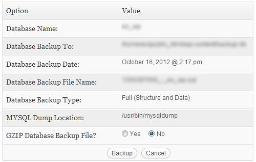 backup wordpress database