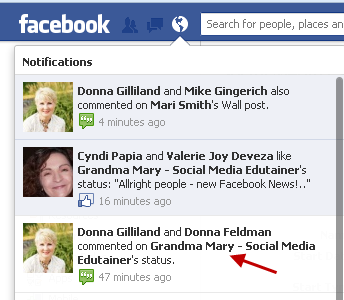 page activity in personal profile notifications