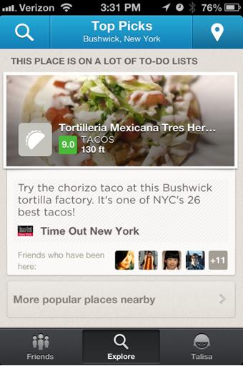 foursquare explore score