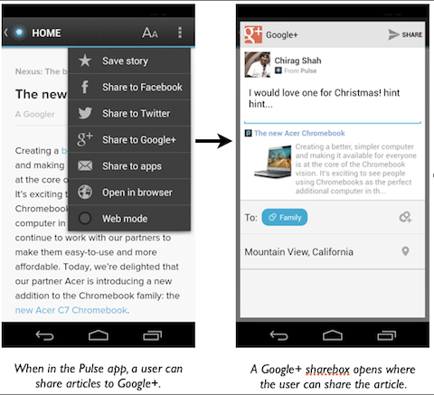 google+ mobile app links