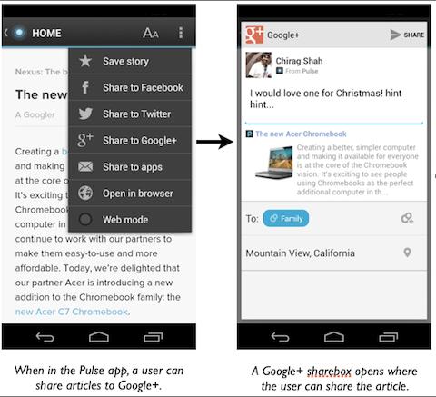 google+ mobile app links