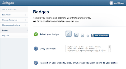 instagram badges