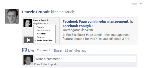 newsfeed view before click