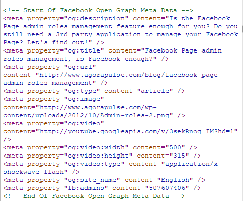 Facebook Graph Meta Data