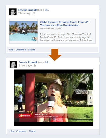 Example of Facebook Link Share with Open Graph Settings