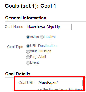 thank you page goal url