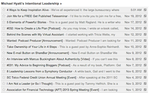 michael hyatt blog in google reader