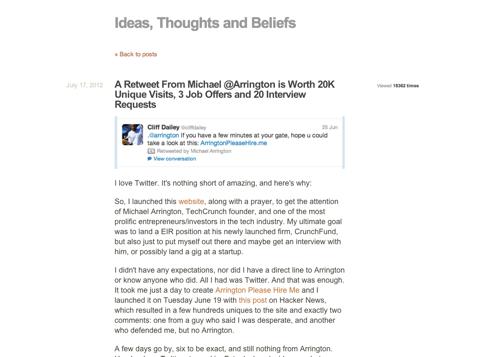 a retweet from michael arrington