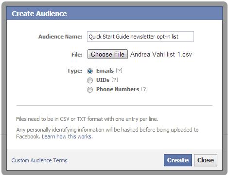 custom audience upload file