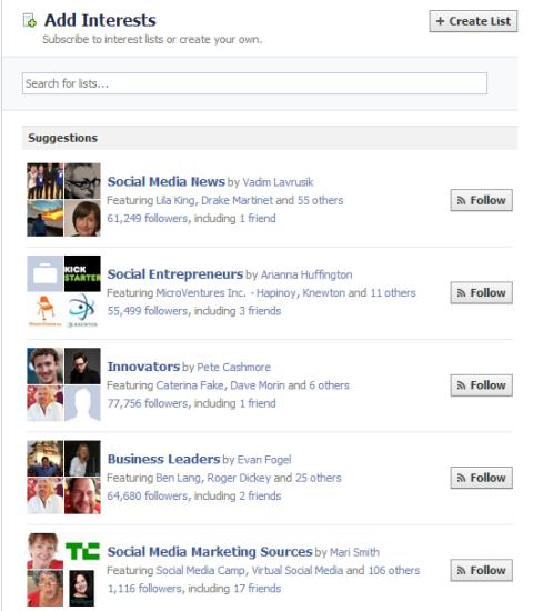 find facebook interests list