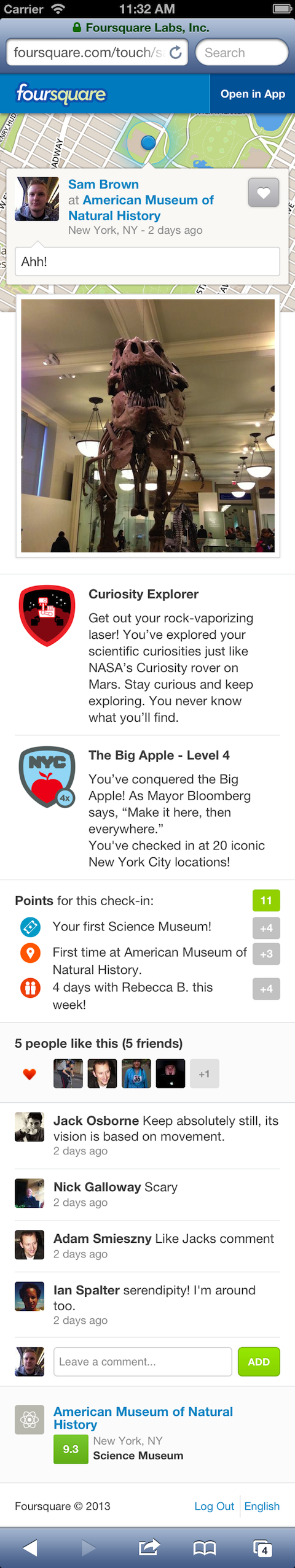 foursquare checkin details