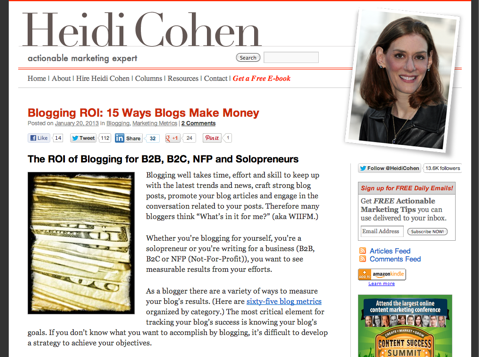 ck heidi cohen blog Top 10 Social Media Blogs: The 2013 Winners!   Cindy King