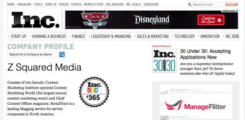 z squared media inc500