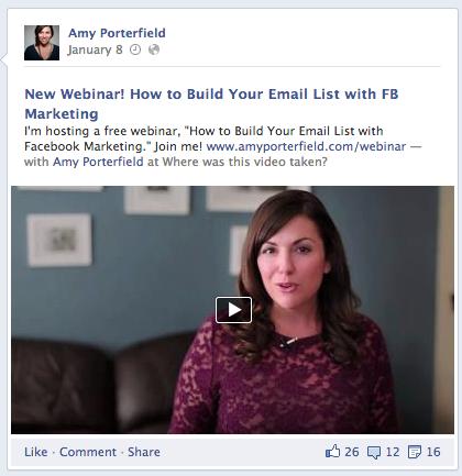 amy porterfield facebook webinar ad
