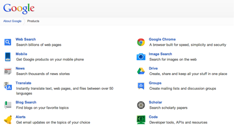 google products page