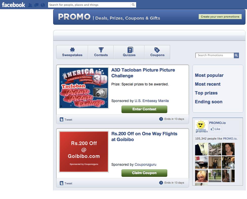 facebook promo app