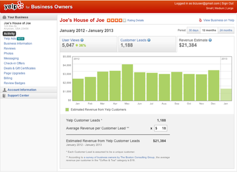 yelp revenue estimation tool