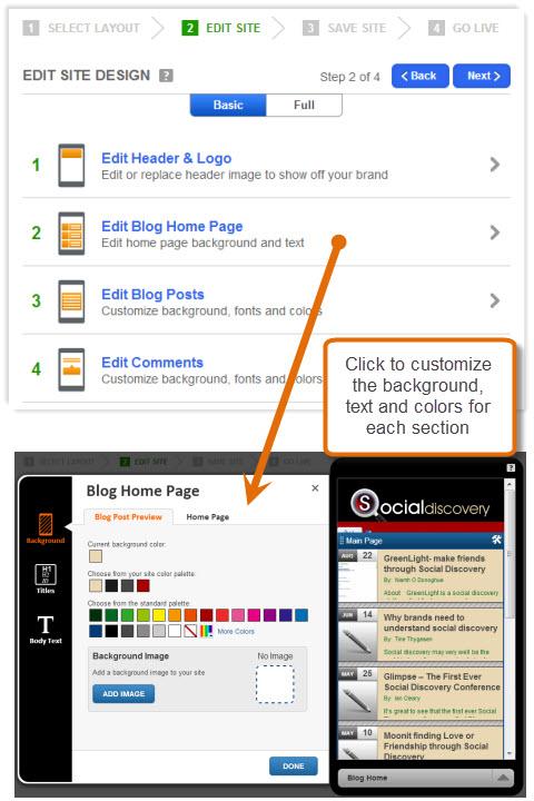 gomo customize page