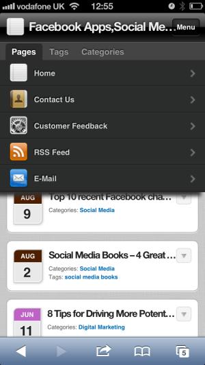 menu items on mobile site