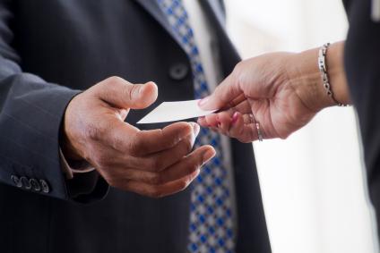business card handshake