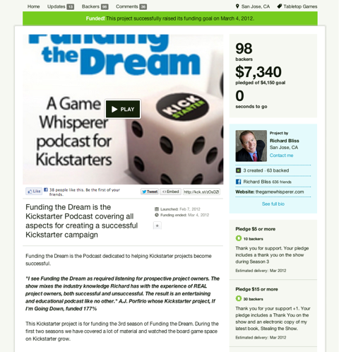 kickstarter funding the dream podcast