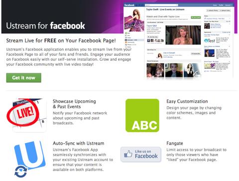ustream live for facebook