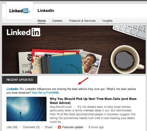 linkedin status updates
