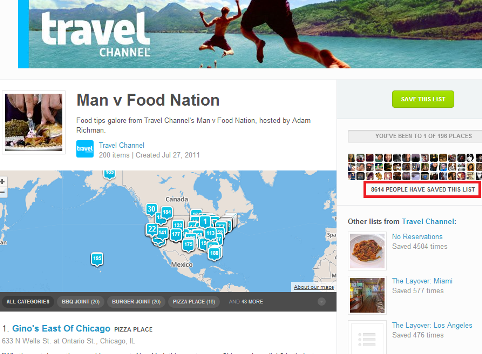 foursquare travel channel lists