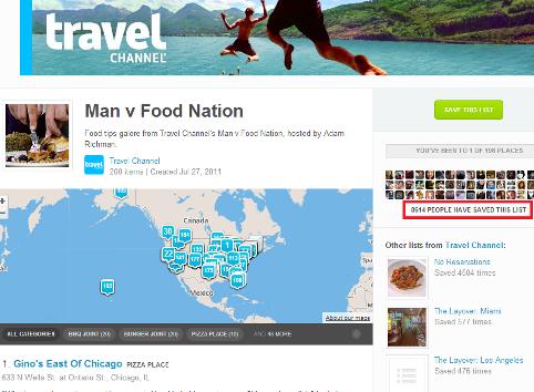 foursquare travel channel lists