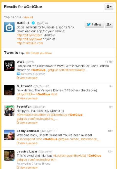 Twitter GetGlue hashtag list