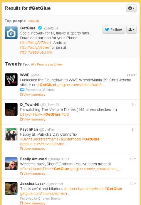 Twitter GetGlue hashtag list