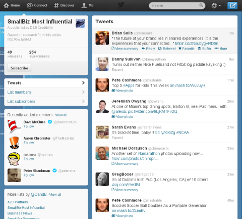 Twitter list timeline