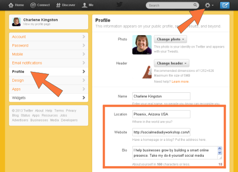 Twitter profile options