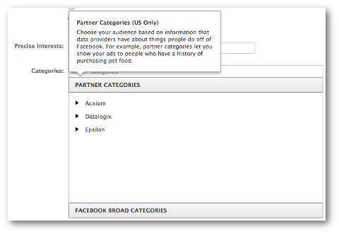 facebook broad partner categories