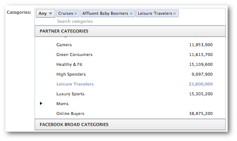facebook partner categories select