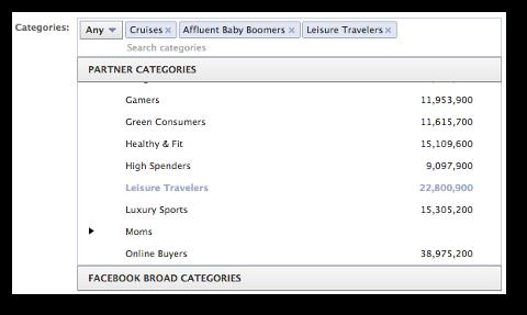 facebook partner categories select