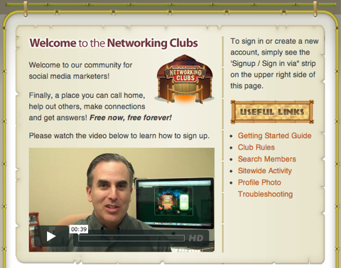 networking clubs welcome page