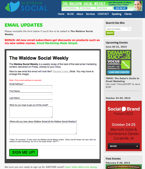 waldow social email updates
