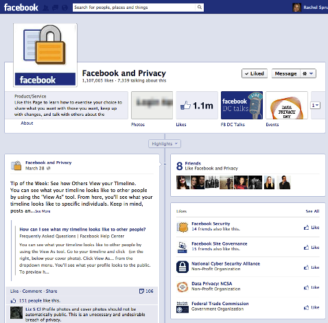 facebook and privacy page
