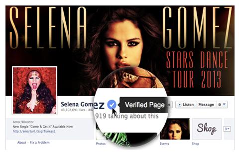 Facebook verifizierte Seite
