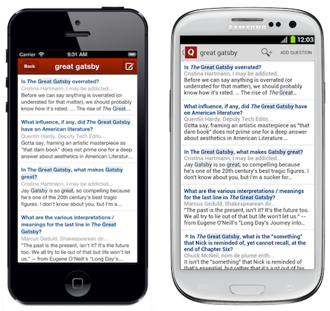 quora mobile search