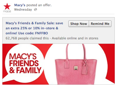 macys facebook offer