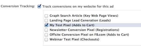 select conversion tracking