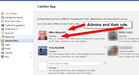 Facebook admin and roles