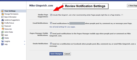 Facebook notification settings