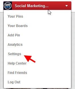 Pinterest edit account settings