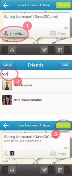 foursquare checkin with friends