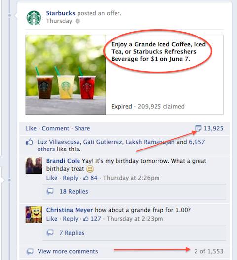 starbucks facebook offer