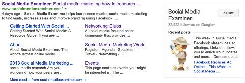 Seite in den Suchergebnissen