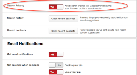 pinterest search privacy setting